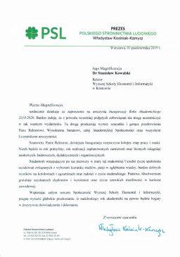 prezes psl zaproszenie na inauguracje wsei  Relacja z Inauguracji 2019/2020 Podzi  kowania PSL 256x365