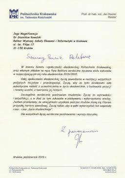 podziękowania od Politechniki Krakowskiej