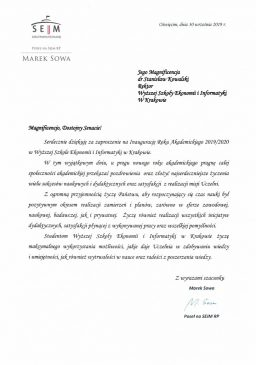 Marek sowa zaproszenie na inaugurację WSEI