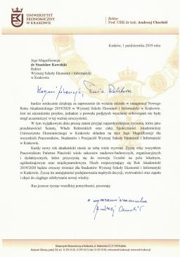 prof Andrzej Chochół uek zaproszenie  Relacja z Inauguracji 2019/2020 Podzi  kowania Uniwersytet Ekonomiczny 256x365