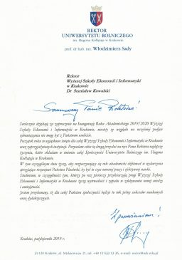 rektor uniwersytetu rolniczego zaproszenie od wsei  Relacja z Inauguracji 2019/2020 Podzi  kowania Uniwersytet Rolniczy 256x365