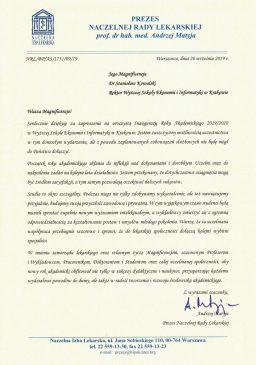 prezes naczelnej rady lekarskiej wsei list  Relacja z Inauguracji 2019/2020 Podziekowania Naczelna Rada Lekarska 256x365
